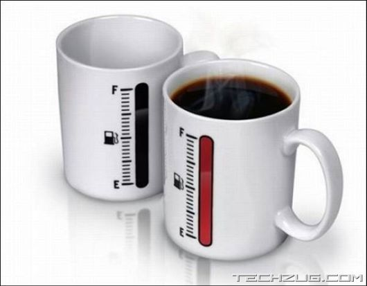 Hahahahaha need one! coffee fuel indicator - indicates when running low  (gadgets, ideas, inventions, cool, fun, amazing, new, interesting, product, design, clever, practical, useful, tech, technology, electronic, gizmo, brilliant, genius, home, kitchen, gift, present)