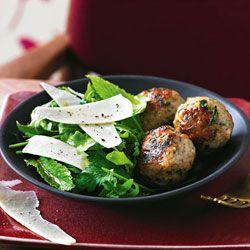 Preserved lemon, pork & parmesan meatballs with herb salad