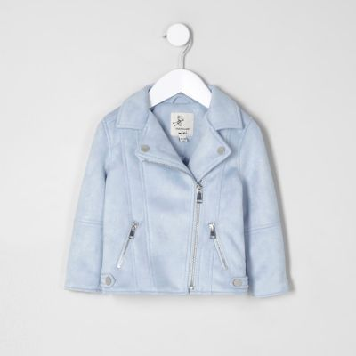 Mini girls light blue faux suede biker jacket - Baby Girls Coats & Jackets - Mini Girls - girls