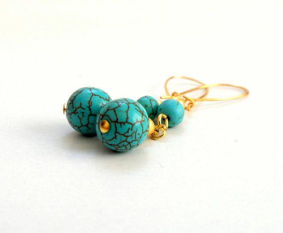 Turquoise Earrings Turquoise Gemstone Dangle Earrings by byshushu, $25.00