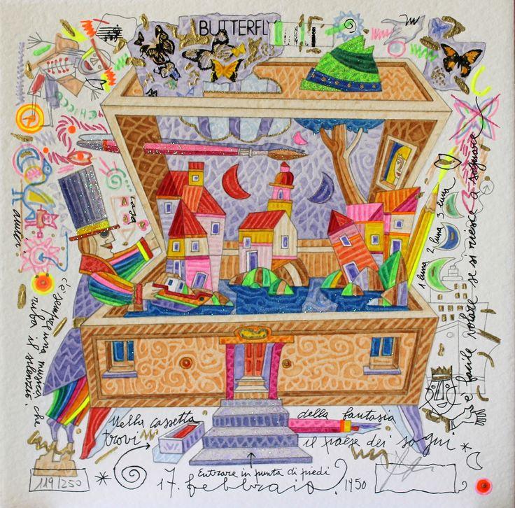 Nella cassetta della fantasia, Francesco Musante, Serigrafia polimaterica + glitter #gliartistidiGALP