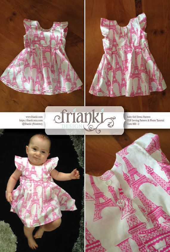 This listing is for a PDF sewing pattern and photo tutorial to make the pictured little girls dress. It is in size 000 to 2 (see guide below & in