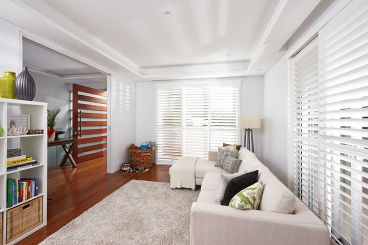 Sliding Luxaflex Polyresin Shutters in Hunters Hill home. Installed by Park Shutters & Blinds and starring in current Luxaflex advertising campaign
