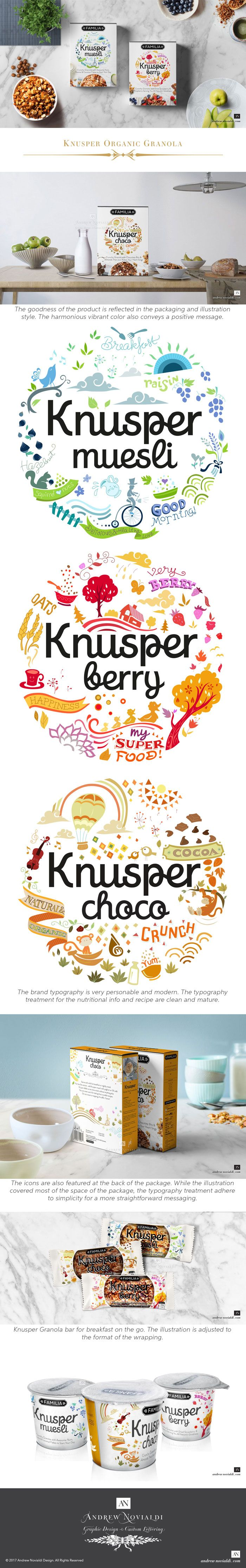 Knusper is proud to offer a product that is not only it is an organic and all natural grain diet but also one that tastes great. This brand is marketed as organic granola for young adults and millennials. The illustration surrounding the brand not only describe the flavour of each product but also exudes a happy and healthy lifestyle. The brand typography is very personable and modern. The typography treatment for the nutritional info and recipe are clean and mature.