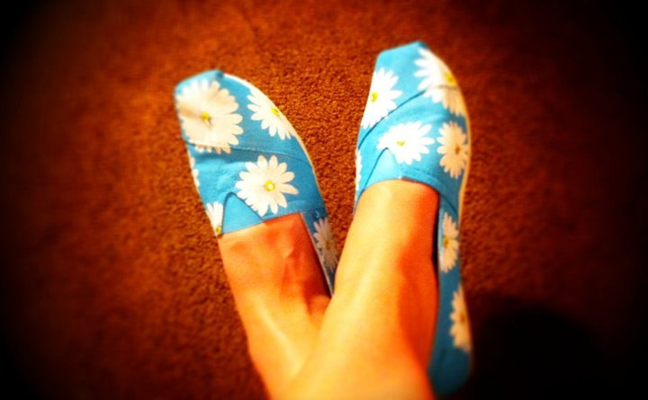 TOMS shoes- Hand Painted- Daisy print. $98.00, via Etsy.