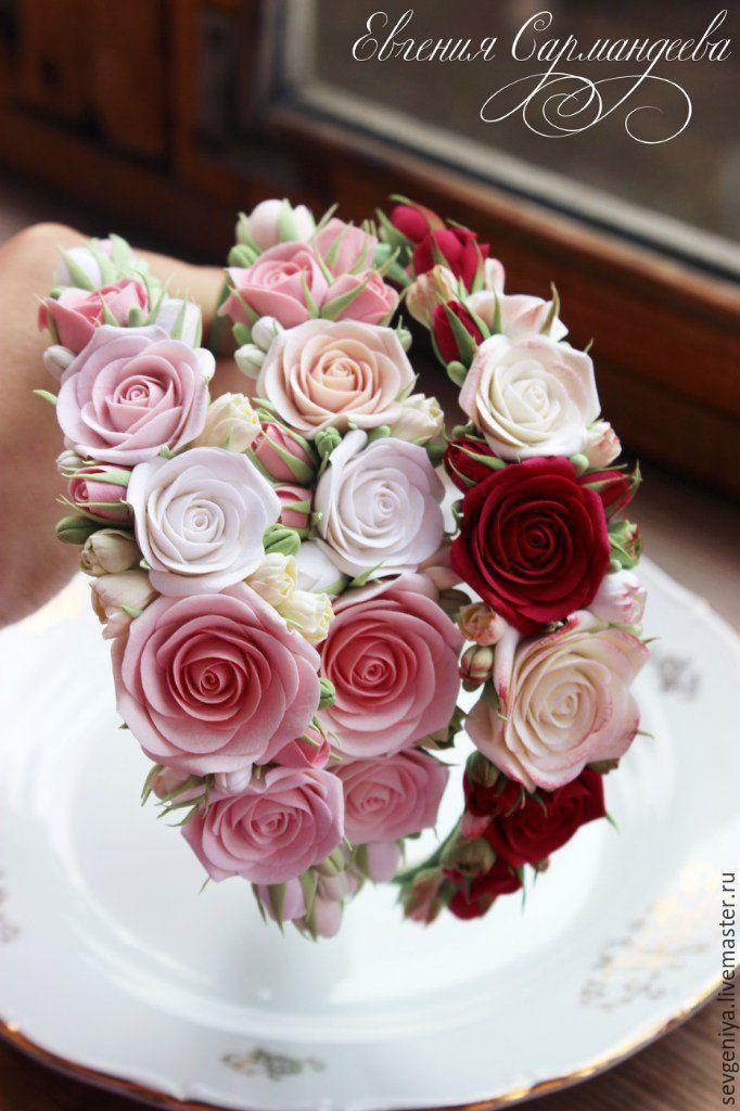 Купить Ободок с розочками из полимерной глины - кремовый, ободок для волос, ободок с цветами, ободок