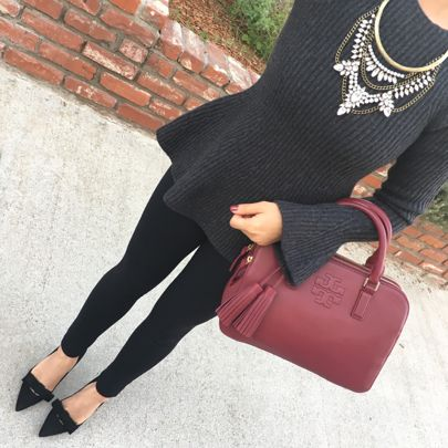This bell sleeve peplum sweater is amazing and 50% off! Comes in regular and petite sizes. Also these ponte ankle pants are so slimming - perfect for work or you can wear them as thicker leggings (50% off). My black bow pumps are 50% off too! Click the link in my profile for outfit details! http://liketk.it/2pGSu @liketoknow.it #liketkit