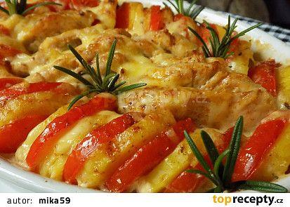 Kuřecí řízečky zapečené s rajčaty a bramborami recept - TopRecepty.cz