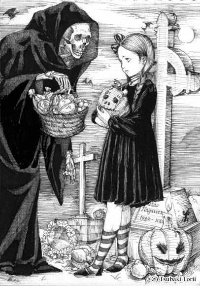 Halloween, All Hallows Eve, Trick or Treat, Witch, Goblin, Ghost, Black Cat, Bat, Skull, Ghouls, Scarecrow, Grim Reaper, Jack-O-Lantern, Pumpkin, Spooky, Scary, Haunting, Creepy, Frightening, Full Moon, Autumn, Fall, Magic Potion, Spells, Magic - By Tsubaki Torii