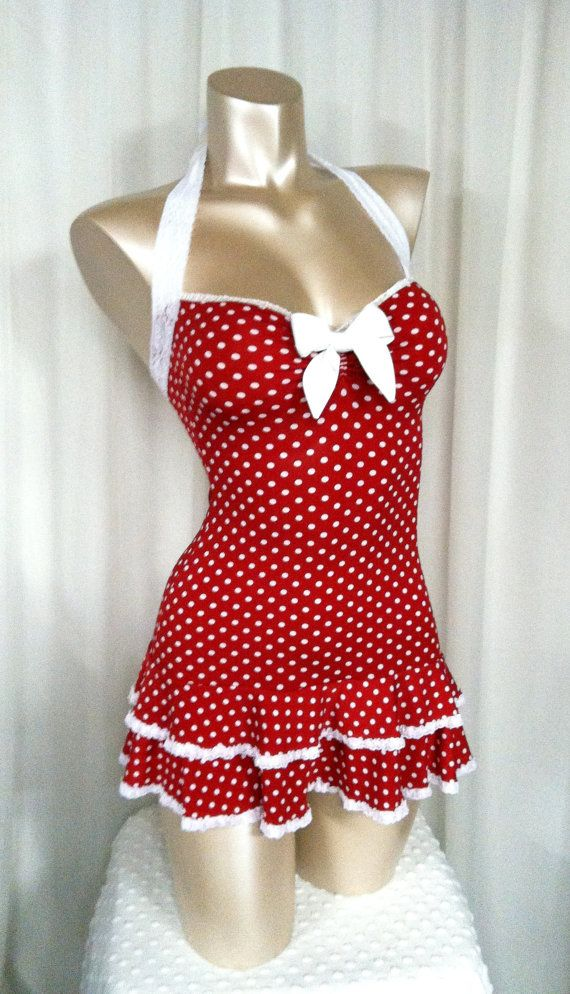 Amazing Vintage Swim Dress Part - 3: Polka Dot Mini Dress, Sweetheart Neckline, Double Ruffle Hem, Halter Straps  Bombshell Sz. Retro SwimwearVintage ...