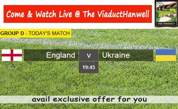 Watch Live Match Between England V Ukraine Today @ The Viaduct. Avail Exclusive offer : http://www.viaducthanwell.co.uk/offers/viaduct_euro_offer.pdf   Book Your Table Now.-http://www.viaducthanwell.co.uk/contactus.php