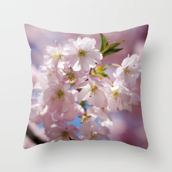 Spring Pink blossom branch throw pillow by #PLdesign #Spring #blossom #FlowerGift