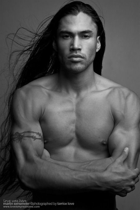 Native American Martin Sensmeier -Tlingit and Koyukon-Athabascan..I LOVE ME SOME NATIVE MEN AND THIER HAIR....