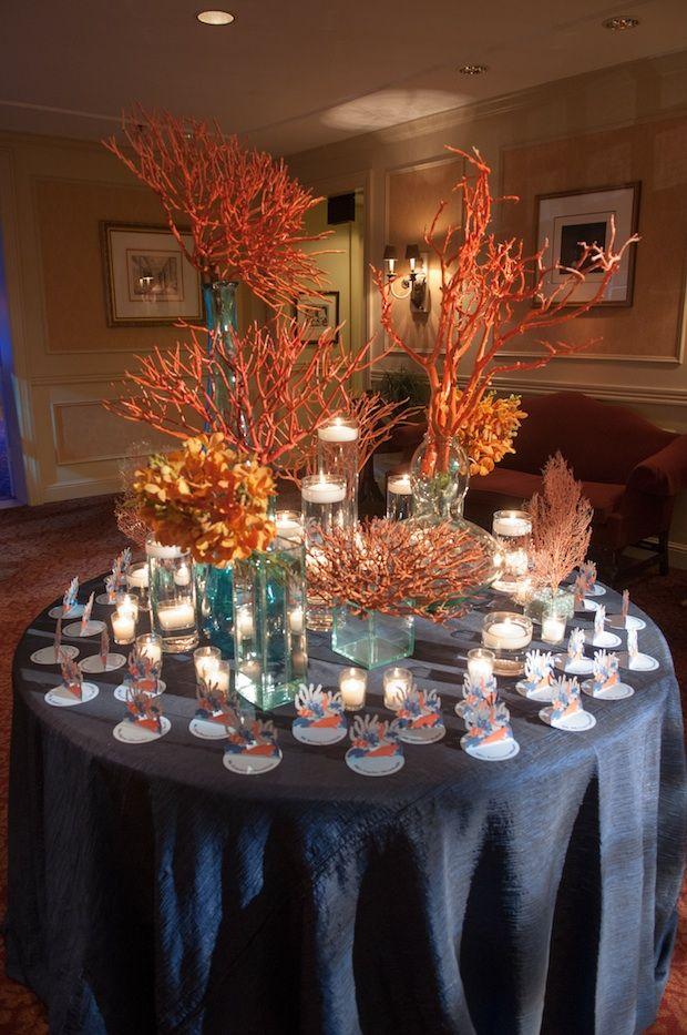Beautiful Blooms Reef Sea Life Princeton Bar Mitzvah Greenacres Country Club Orange and Blue Coral