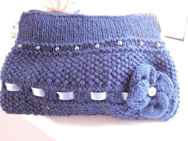 Knitted Navy Blue Sparkle Clutch Bag Make Up Bag £6.50