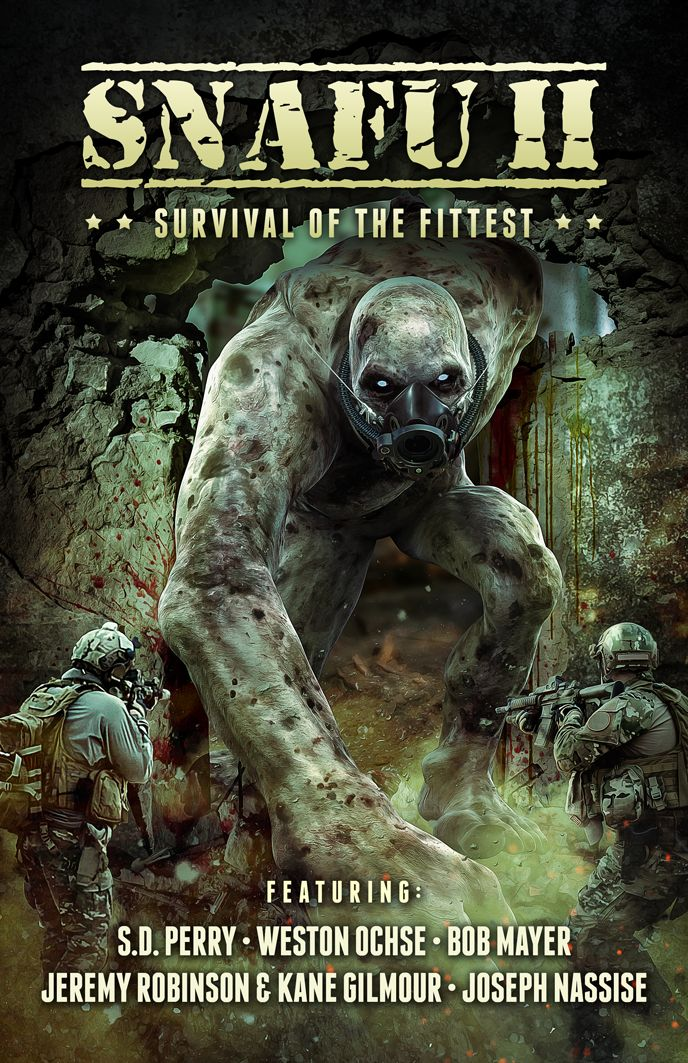 Cover art for SNAFU 2. Work by Conzpiracy Digital Arts. http://cohesionpress.com/snafu/snafu-ii-survival-of-the-fittest/