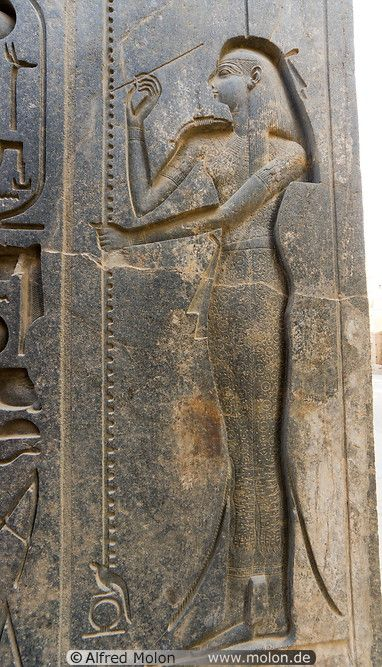 Isis goddess in Luxor temple - Isis is one of the earliest and most important goddess in ancient Egypt. She was regarded as the feminine counterpart to Osiris, a role she probably occupied before the dawn of dynastic Egypt.