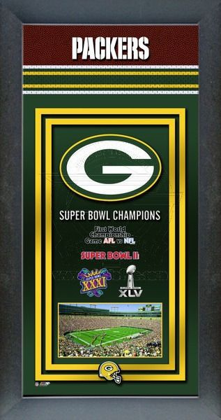 Framed Green Bay Packers poster celebrates each of their Super Bowl wins. Our Green Bay Packers Championship banner includes the team logo, photo of their home stadium and their Super Bowl Championship years. #GreenAndGold