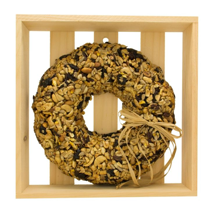 """WRTHFN-C Fruit & Nut Wreath in wooden crate Approximately 10"""" x 10"""" x 2-1/2"""". Approximately 800g. Embedded hanger included"""