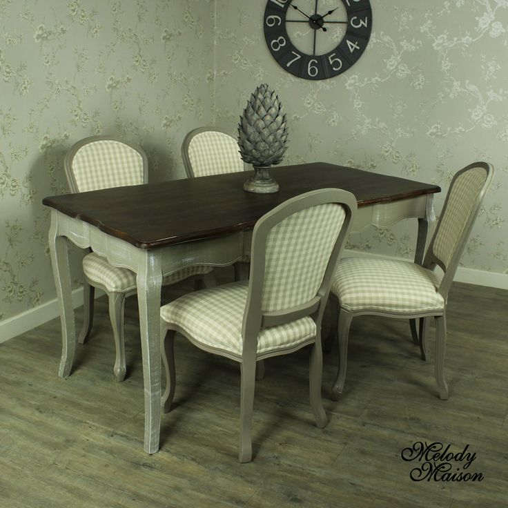Big Dining Room Tables Part - 34: Large Grey Dining Table With 4 Padded Dining Chair - French Grey Range A  Beautiful Large