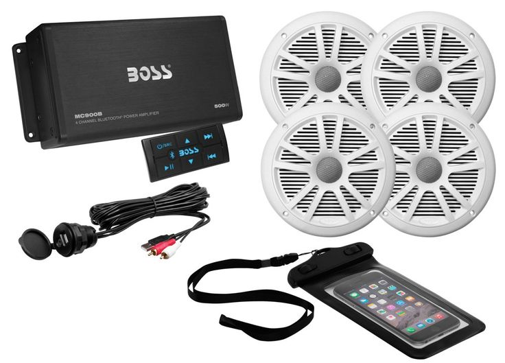 """BOSS AUDIO ASK904B.64 Marine Package Includes 500 Watt Max 4-channel Bluetooth Amplifier, Two Pair 6.5 inch MR6W Marine Speakers, Universal USB cable and Phone Pouch. Weather Proof of MR6W 6.5"""" Full Range Marine Speakers (Two Pair) with Poly Carbon Cone and Rubber Surround. 180 Watts MAX 90 Watts RMS Power Handling per Pair. MC900B has 500 Watt Max Power. 4 Channel Weather Proof Amp with Bluetooth Inline Multi-function Remote. Aux, Low Level Inputs, RCA Pre-amp Outputs and USB Charging…"""