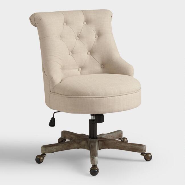 Warm Ivory Elsie Upholstered Office Chair Upholstered Office