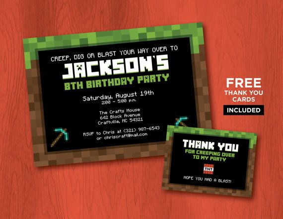 Printable Minecraft Birthday Invitations + FREE Thank You Cards