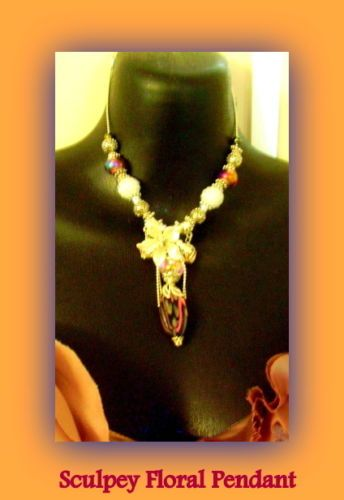 Sexy Victorian Sculpey Floral Pendant, in Pink Black. Necklace has White Flowers and Glass Beads M'O Pearl