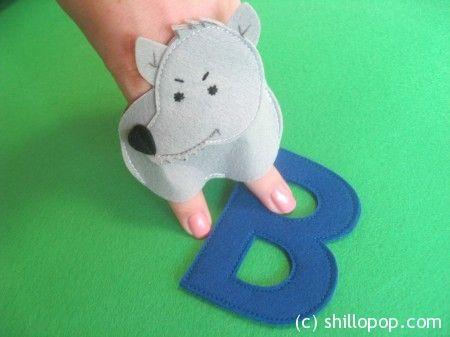 Волк пальчиковая игрушка Азбука из фетра алфавит выкройка