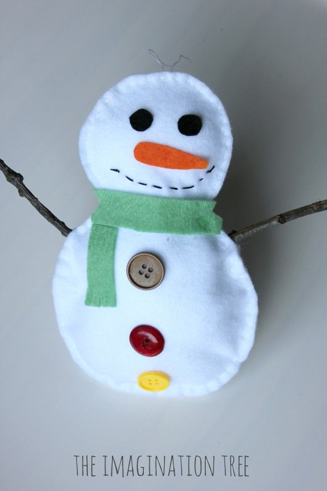 Stuffed Snowman Sewing Craft for Kids from The Imagination Tree