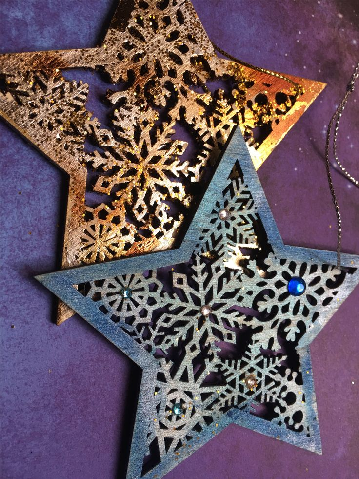Decorated some store bought stars with foil, glitter & gem stones!