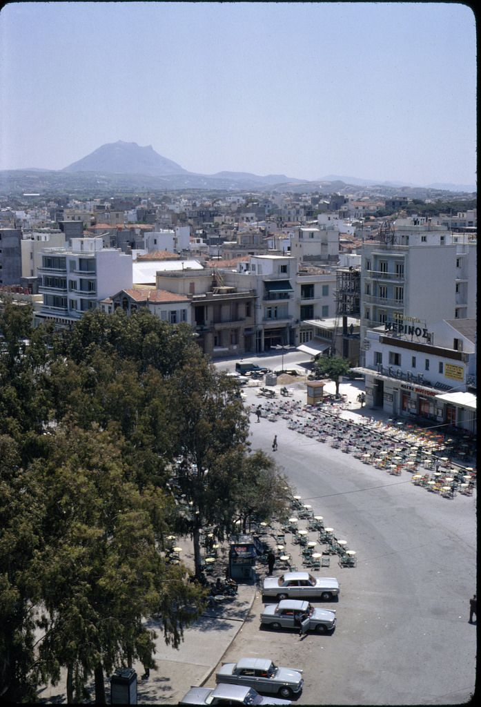 Looking down from rooftop of newly opened Astoria Hotel, Iraklion - June 1967