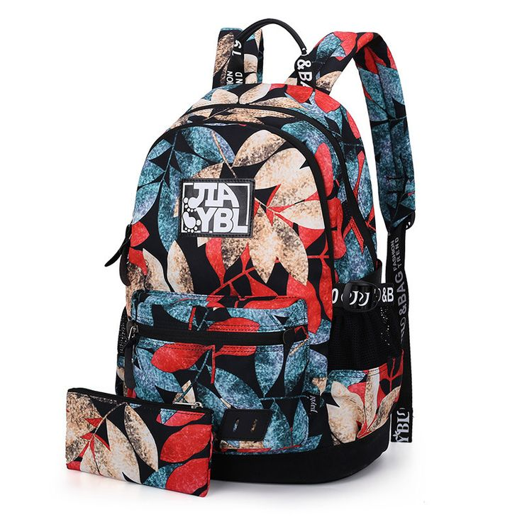 New 2017 women backpacks printing leaves backpack mochila rucksack fashion oxford bag retro casual school bags travel laptop bag