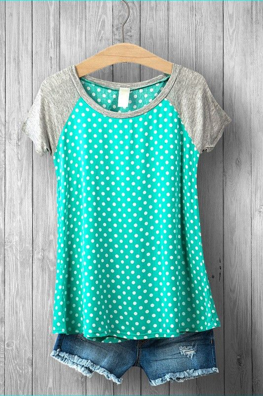 Color is a sky blue (slightly different from photo) Polka Dot Knit Tee with Grey…