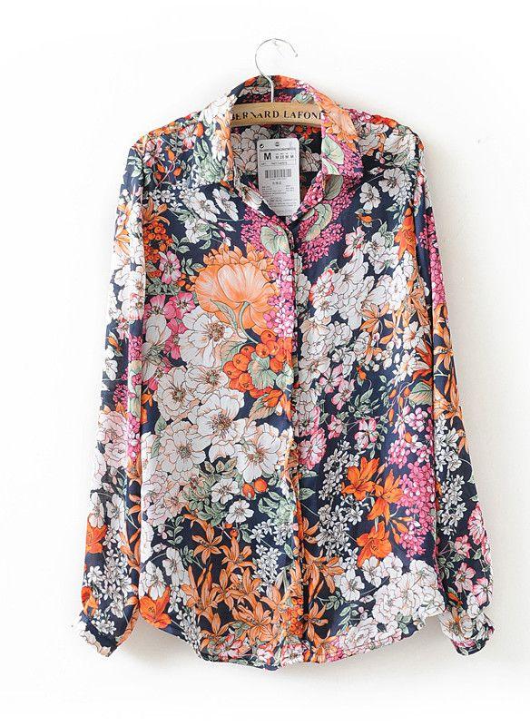 Floral Print Long Sleeve Shirt - Sheinside.com