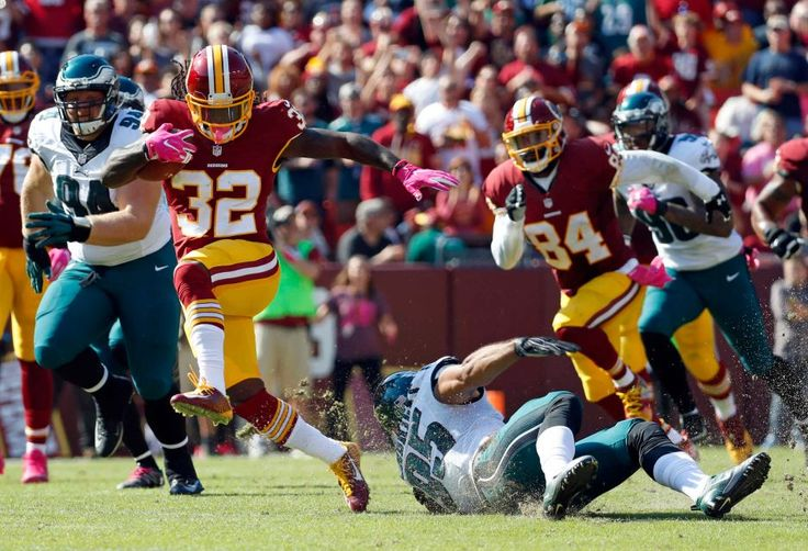 Eagles vs. Redskins:     October 16, 2016   -  27-20, Redskins  -   Washington Redskins running back Rob Kelley (32) rushes past Philadelphia Eagles outside linebacker Mychal Kendricks (95) in the first half of an NFL football game, Sunday, Oct. 16, 2016, in Landover, Md.