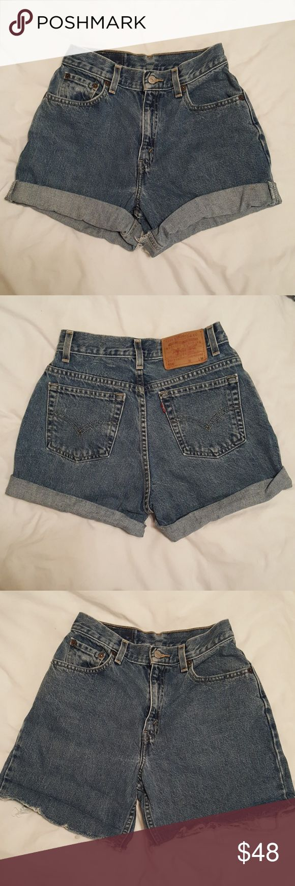 Levi's 550 High-Rise Shorts Levi's 550 High-Rise Shorts. Homemade, so you can roll up or unroll for the distressed look. Very good condition! So so flattering! Levi's Shorts Jean Shorts