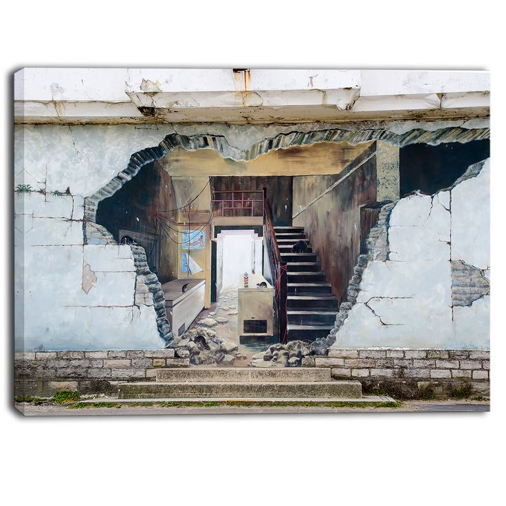 Designart - Broken Walls - Graffiti Street Art Canvas Print