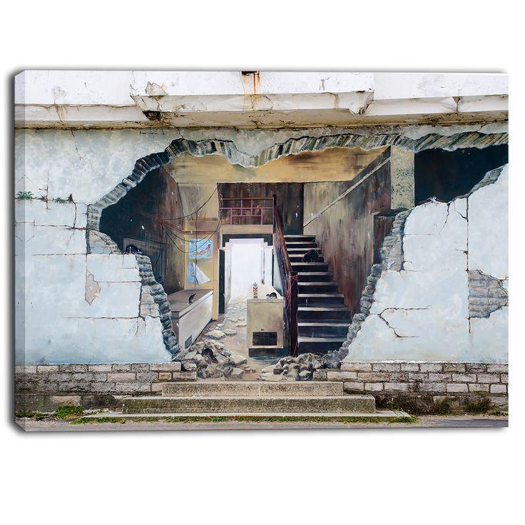Designart - Broken Walls - Graffiti Street Art Canvas Print by DESIGN ART