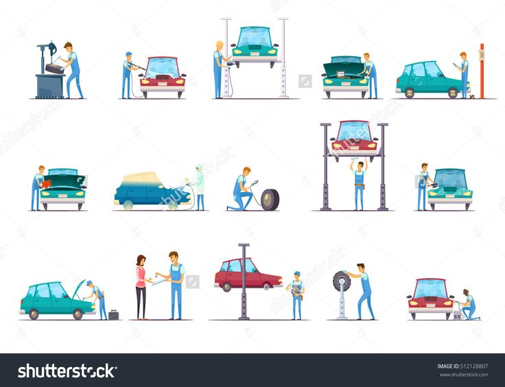 Car Repair Garage Service Retro Cartoon Icons Collection With Vehicle Lift And Auto Mechanic Isolated Vector Illustration - 512128807 : Shutterstock