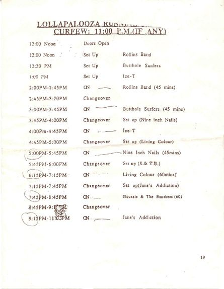 Lollapalooza 8/5/91 Cleveland Line-Up Schedule