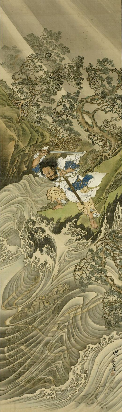 Kawanabe Kyōsai (河鍋 暁斎, May 18, 1831–April 26, 1889)  Susano-o no Mikoto subduing Yamata no Orochi, eight-headed serpent in form of dragon, coming up out of raging sea on storm-swept rocky coast.  Meiji period, 1887  TYPE: Hanging scroll, color on...