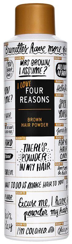 Hiuspuuteri bruneteille! Hiuspuuteri ei ole enää pelkästään vaaleatukkaisten juhlaa – kiitos Four Reasonsin! Brown Hair Powder toimii kuten muutkin hiuspuuterit, eli tuo pelastuksen niihin päiviin, kun hiustenpesuun ei ole aikaa. Lisäksi tuote sulautuu tummiin hiuksiin ja häivyttää tyvikasvua – täsmätuote sekä hyviin että huonoihin hiuspäiviin! Brown Hair Powder -hiuspuuteri 250 ml 12,90 € 51,60/l