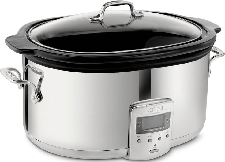 *ceramic insert w/ lead-free glaze *rec by againstallgrain.com All-Clad 99009 Polished Stainless Steel 6.5-Quart Slow Cooker with Black Ceramic Insert with 26 Hour Max Cycle Time Kitchen Electrics // Amazon.com, $129.95