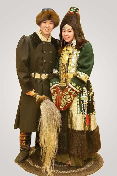 Winter traditional clothes.  Republic of Sakha (Yakutia) in the Russian Federation,
