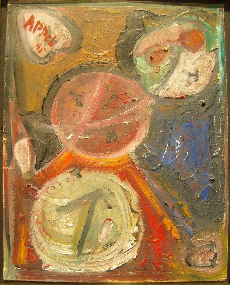 Karel Appel-Aan Vogel, oil on panel, 42x48cm,1945