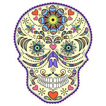 day dead: Illustrazione del cranio astratto isolato su sfondo bianco. Vettoriali