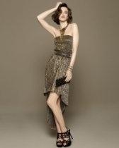 bebe Metallic Strapless Belted Dress