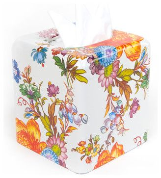 Flower Market Enamel Tissue Box Cover - White | MacKenzie-Childs eclectic-bath-and-spa-accessories