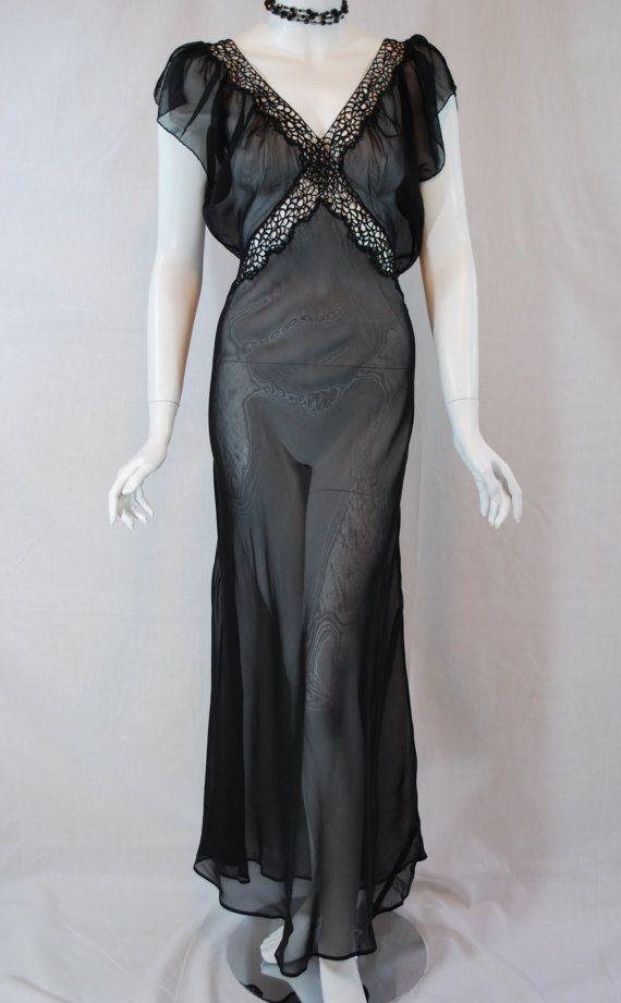 1940s Black Sheer Chiffon Nightgown Odette Barsa - purchased by Masters of Sex